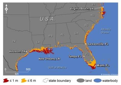 Rising seas will affect major US coastal cities by 2100