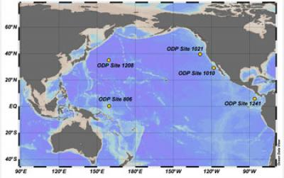 Map Showing Location of Core Sampling Sites in the North Pacific Ocean