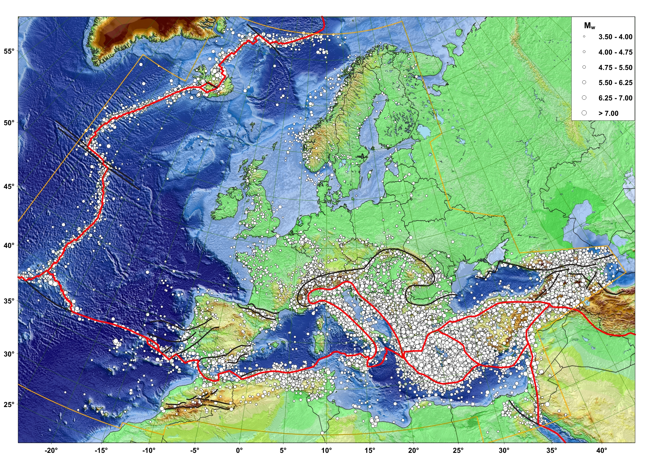 The earthquake risk and europe constantine alexanders journal map of all epicentres in emec plate boundaries red and selected first order gumiabroncs Choice Image